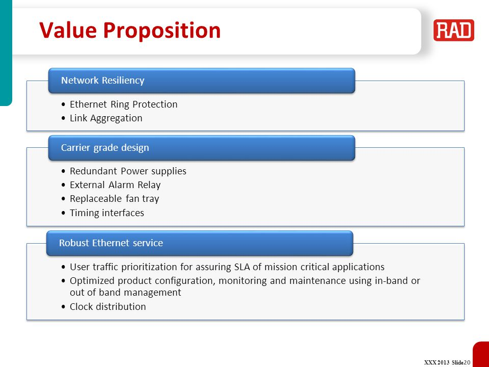 Value Proposition Network Resiliency Ethernet Ring Protection