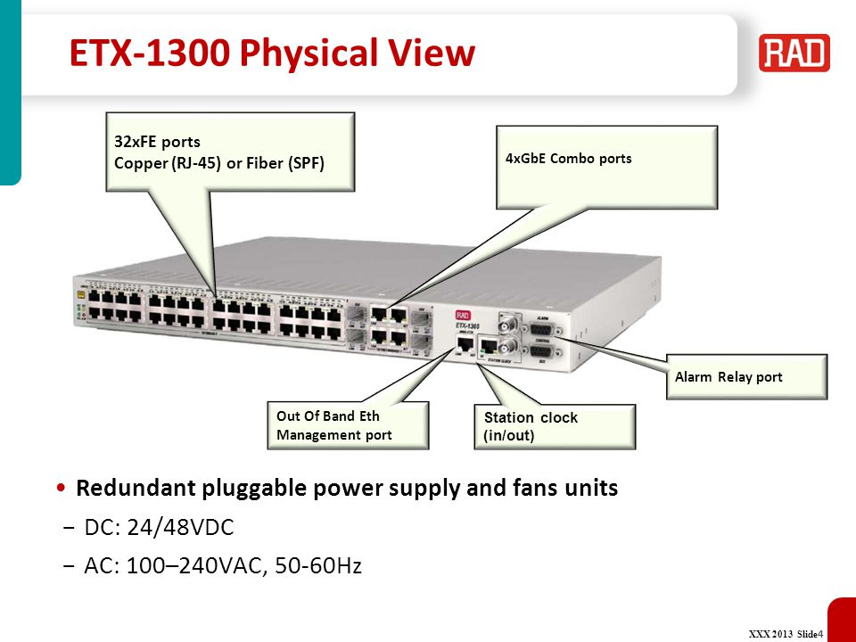 ETX-1300 Physical View Redundant pluggable power supply and fans units