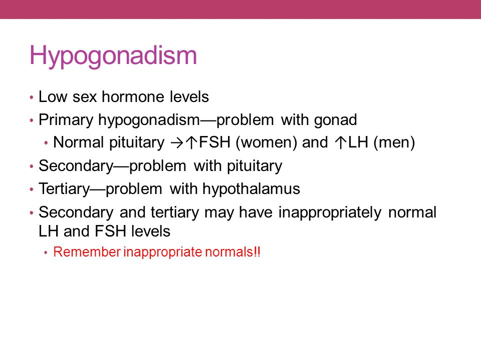 Hypogonadism Low sex hormone levels