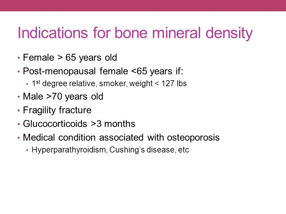 Indications for bone mineral density