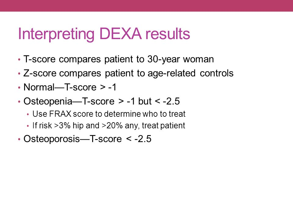 Interpreting DEXA results