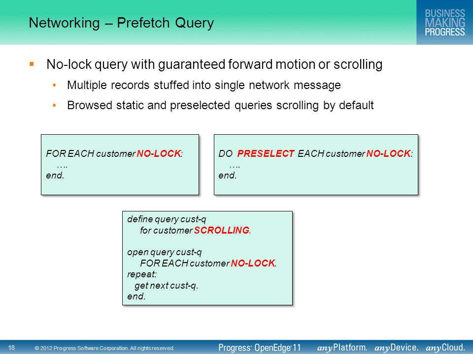Networking – Prefetch Query