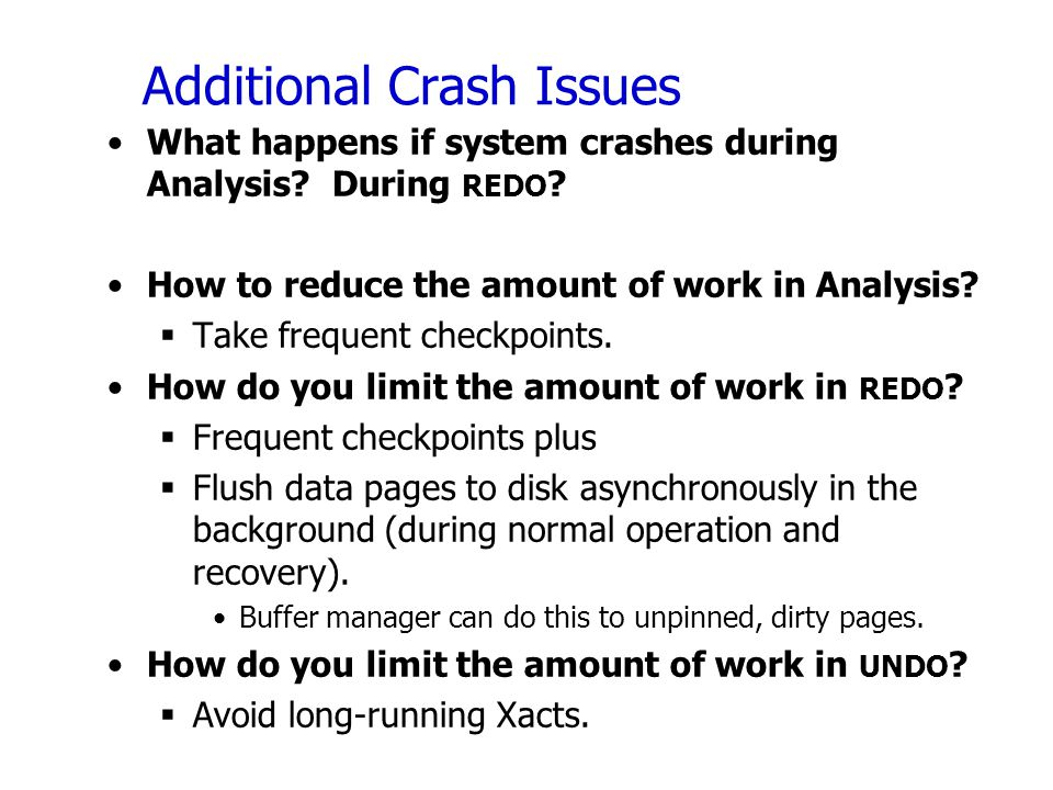 Additional Crash Issues