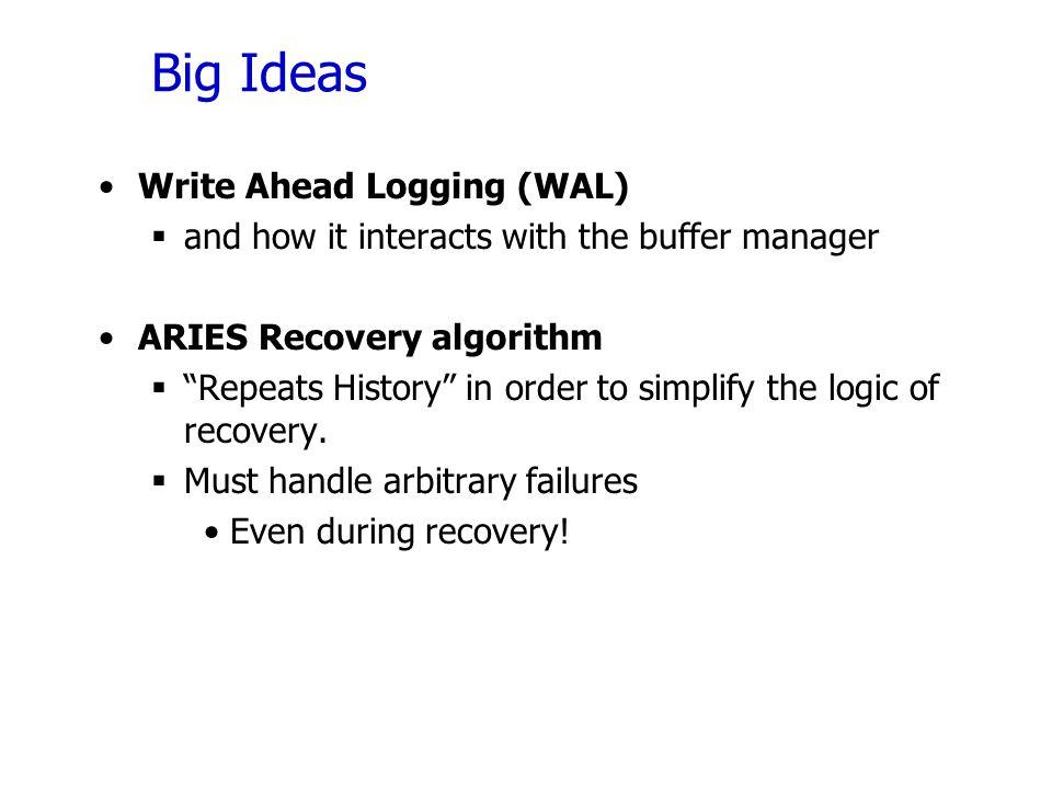 Big Ideas Write Ahead Logging (WAL)