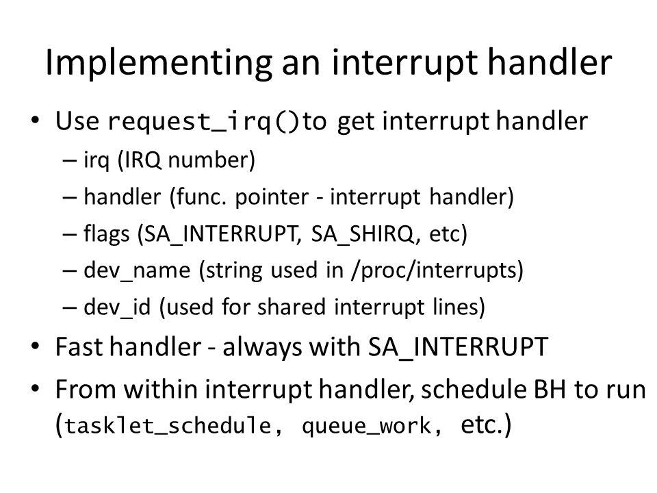Implementing an interrupt handler