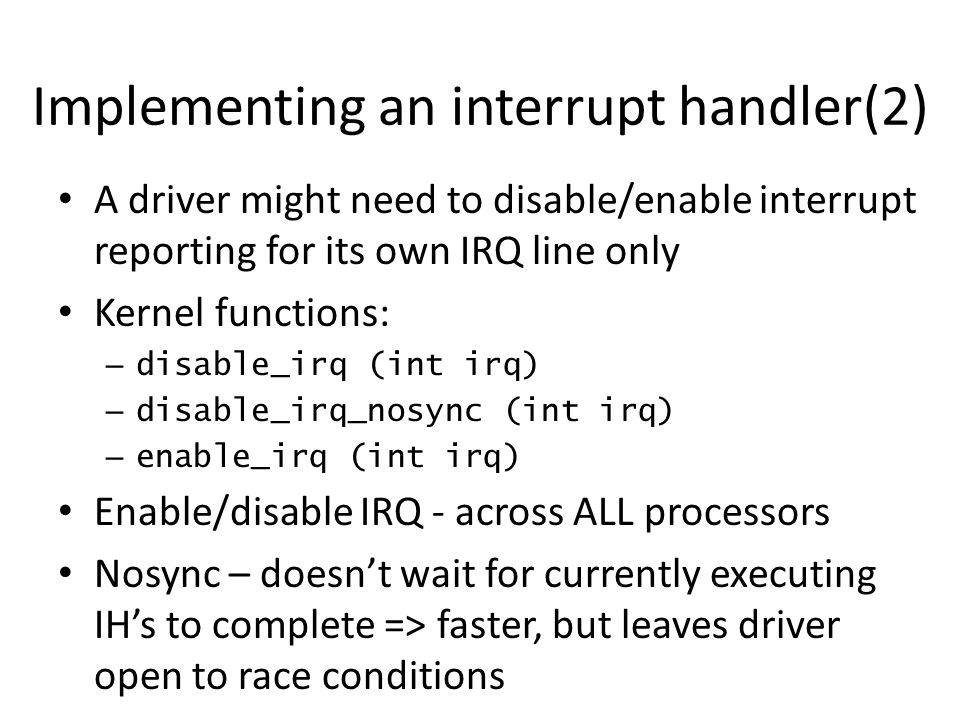 Implementing an interrupt handler(2)