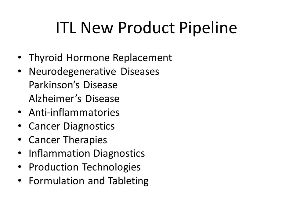 ITL New Product Pipeline