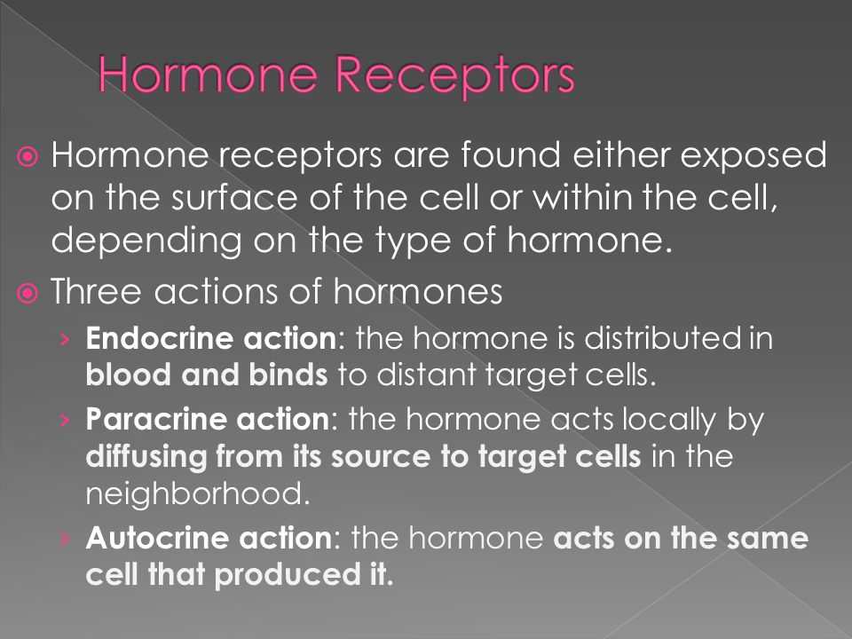Hormone Receptors Hormone receptors are found either exposed on the surface of the cell or within the cell, depending on the type of hormone.