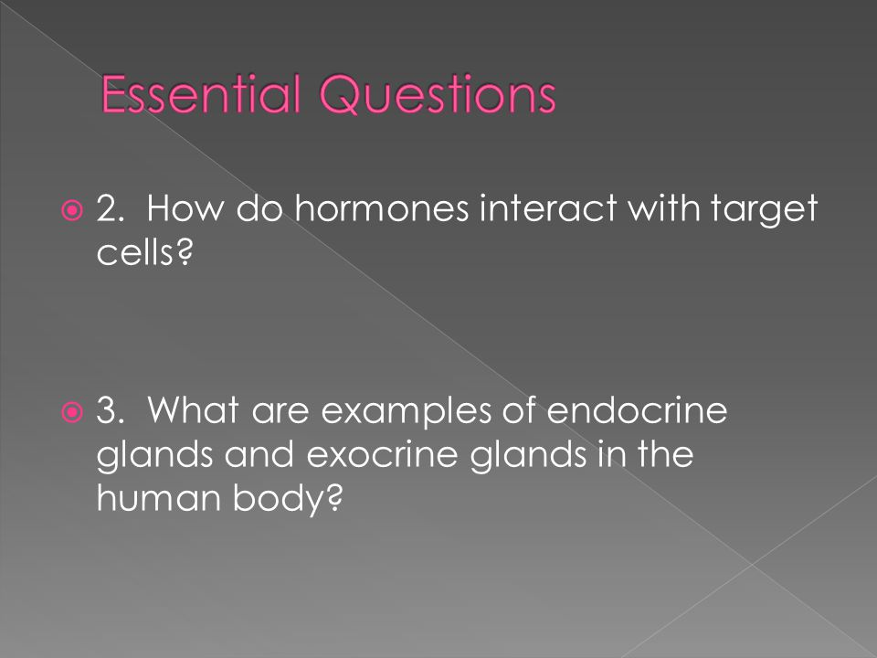 Essential Questions 2. How do hormones interact with target cells