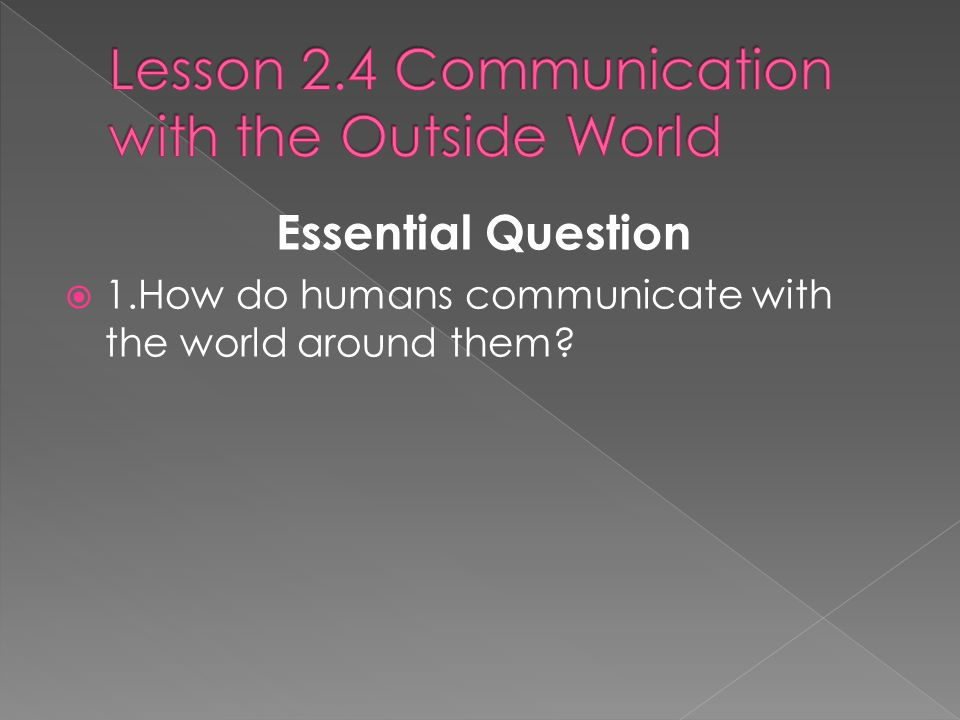 Lesson 2.4 Communication with the Outside World