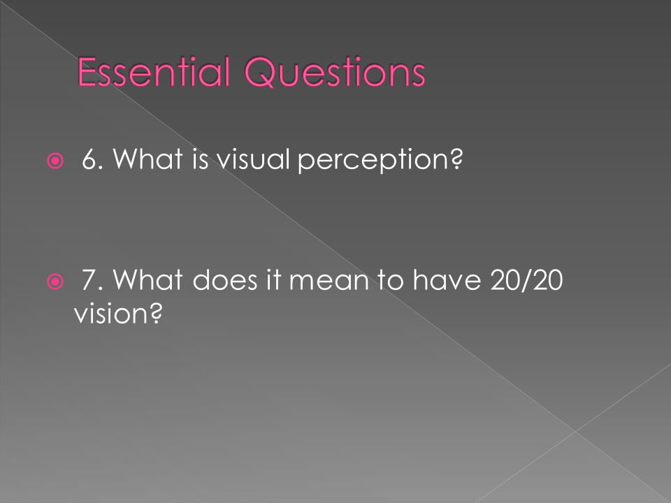 Essential Questions 6. What is visual perception