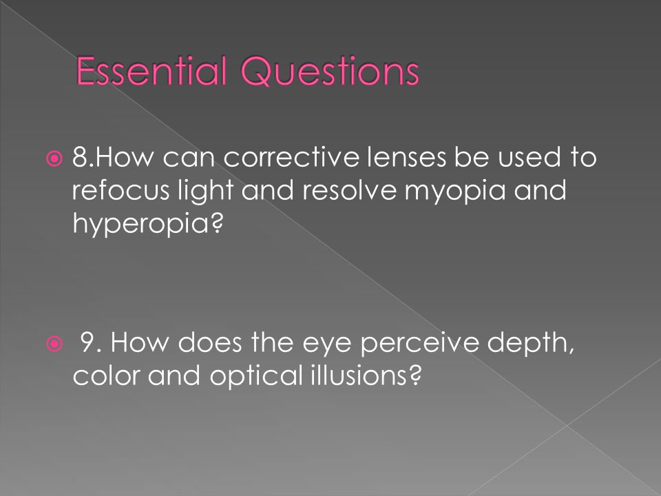 Essential Questions 8.How can corrective lenses be used to refocus light and resolve myopia and hyperopia