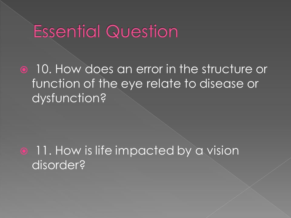 Essential Question 10. How does an error in the structure or function of the eye relate to disease or dysfunction