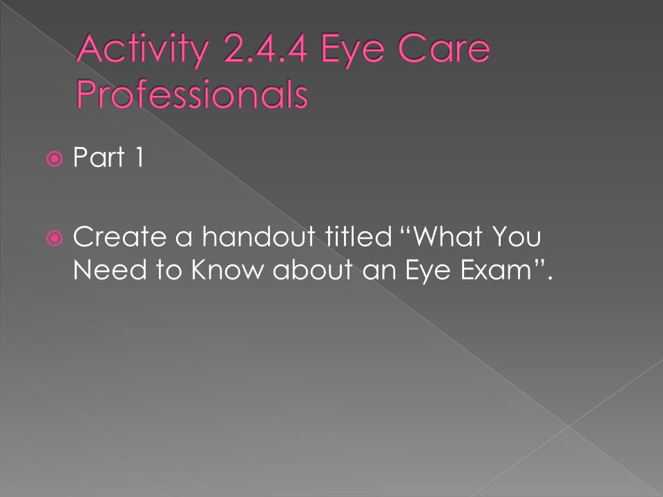 Activity 2.4.4 Eye Care Professionals