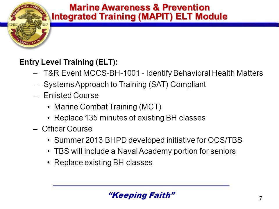 Marine Awareness & Prevention Integrated Training (MAPIT) ELT Module