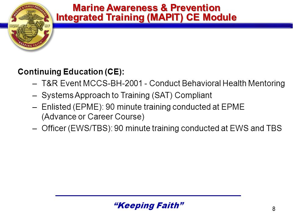 Marine Awareness & Prevention Integrated Training (MAPIT) CE Module