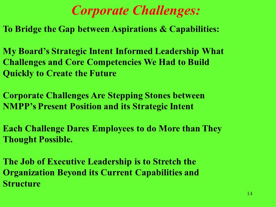 Corporate Challenges: