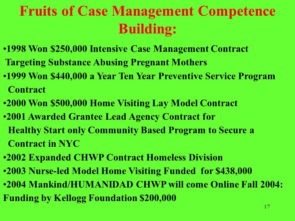 Fruits of Case Management Competence Building: