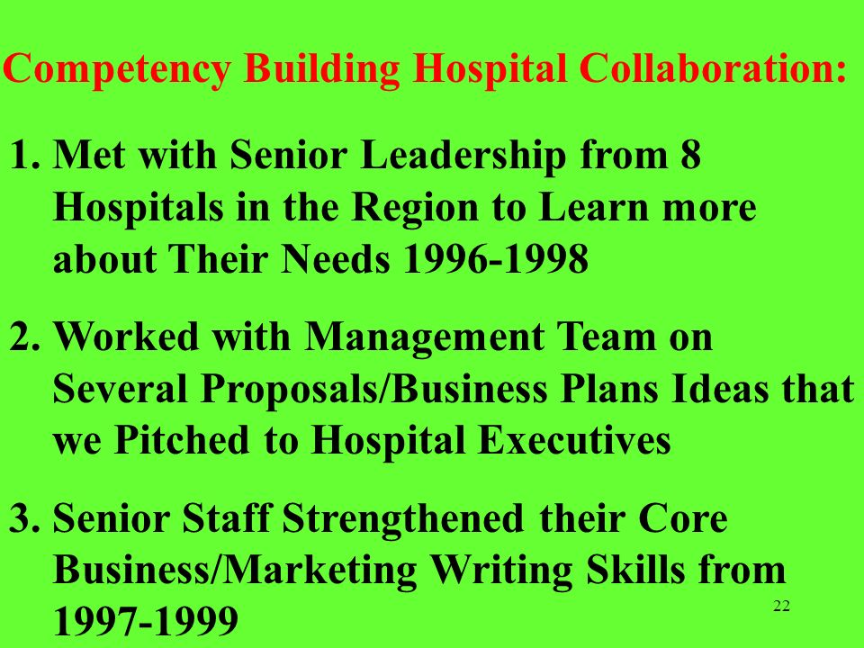 Competency Building Hospital Collaboration: