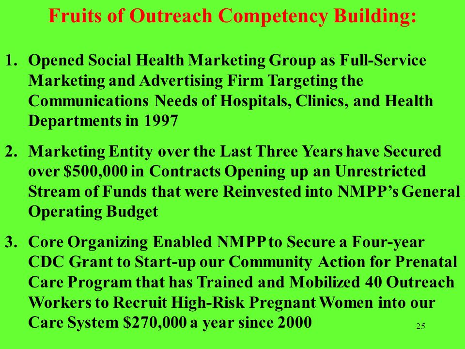 Fruits of Outreach Competency Building:
