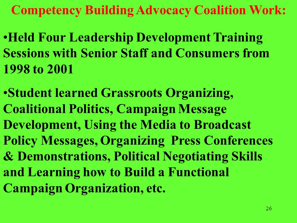 Competency Building Advocacy Coalition Work: