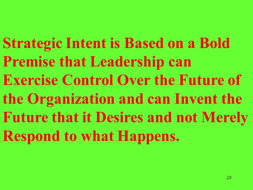 Strategic Intent is Based on a Bold Premise that Leadership can Exercise Control Over the Future of the Organization and can Invent the Future that it Desires and not Merely Respond to what Happens.