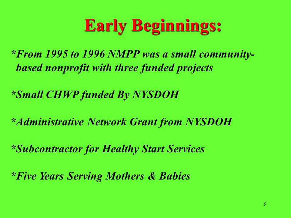 Early Beginnings: *From 1995 to 1996 NMPP was a small community-