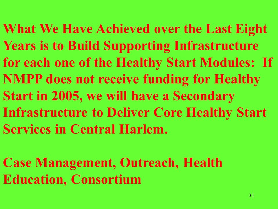 What We Have Achieved over the Last Eight Years is to Build Supporting Infrastructure for each one of the Healthy Start Modules: If NMPP does not receive funding for Healthy Start in 2005, we will have a Secondary Infrastructure to Deliver Core Healthy Start Services in Central Harlem.
