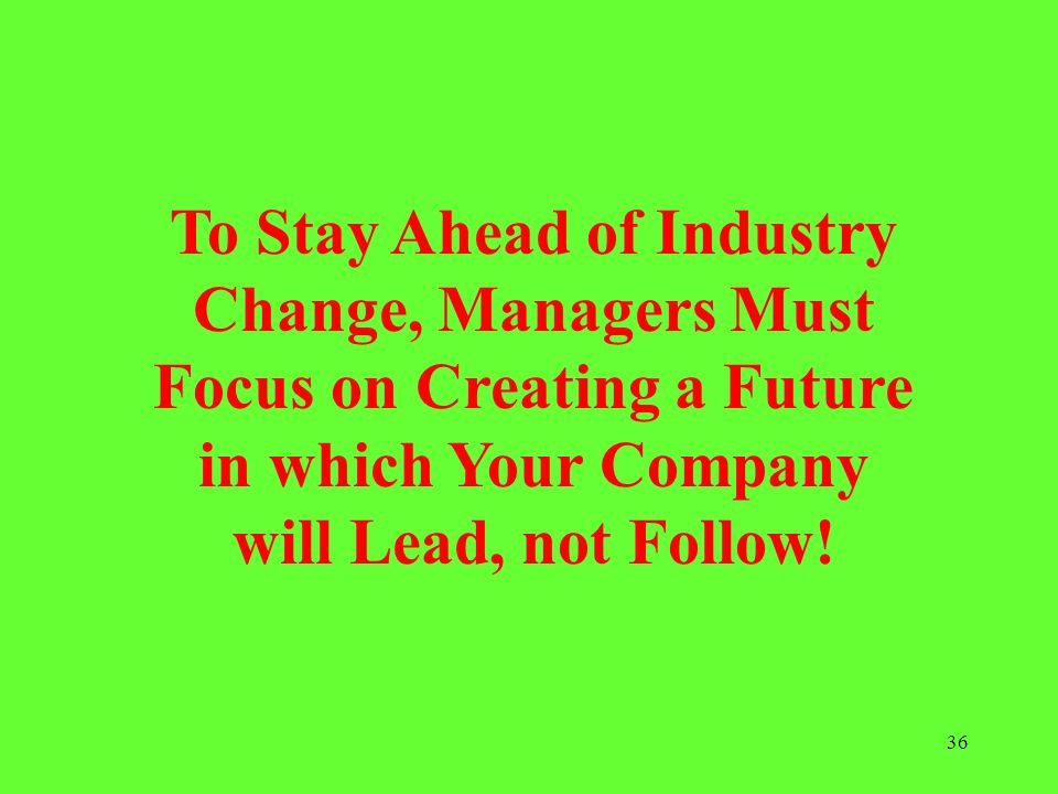 To Stay Ahead of Industry Change, Managers Must Focus on Creating a Future in which Your Company will Lead, not Follow!
