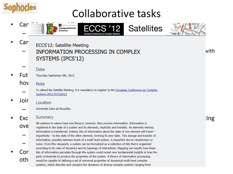 Collaborative tasks Candidate joint publications