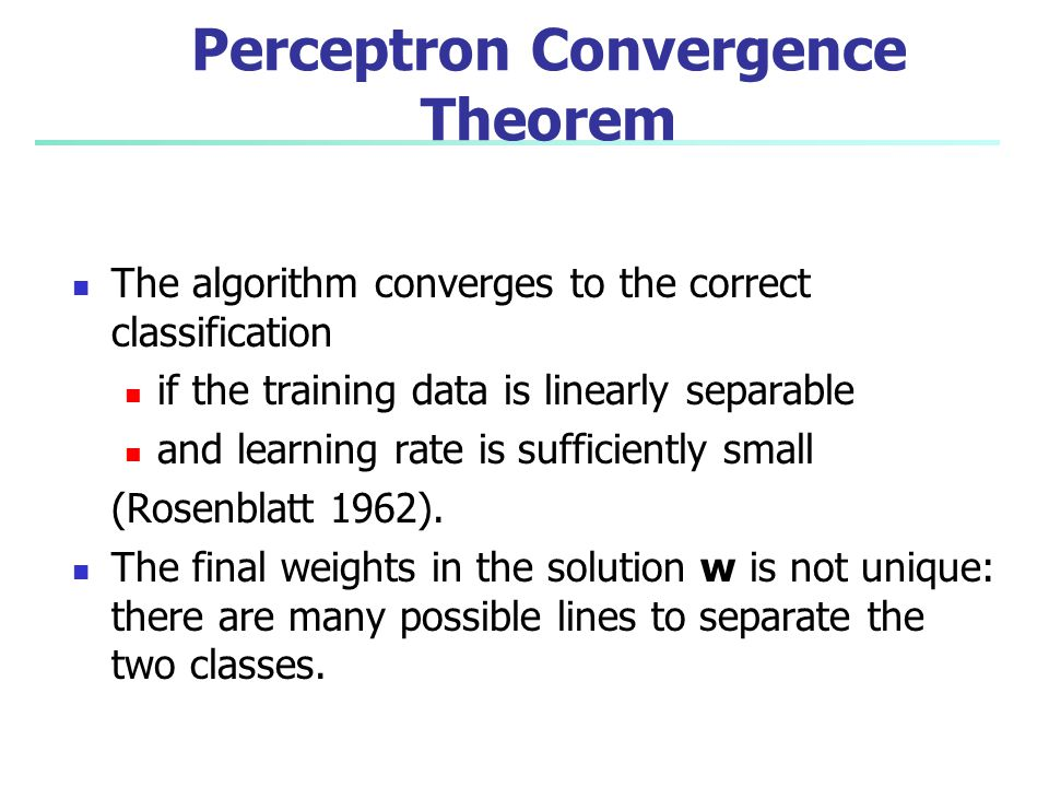 Perceptron Convergence Theorem