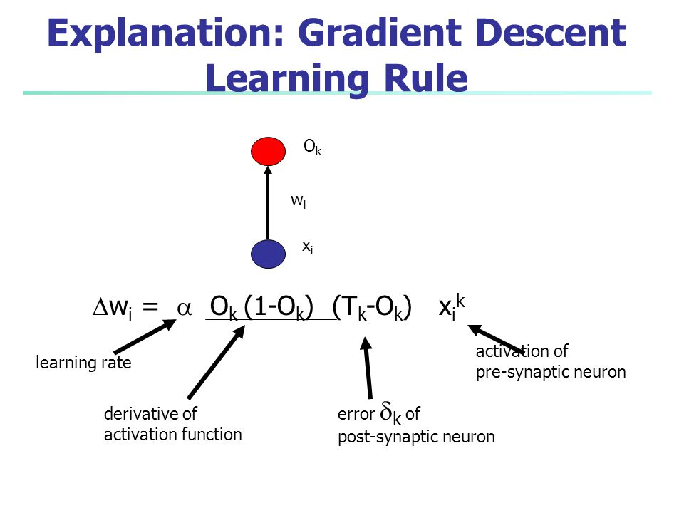 Explanation: Gradient Descent Learning Rule