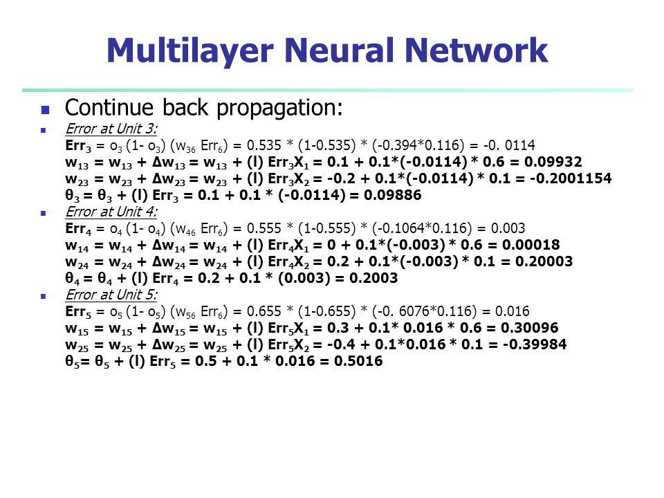 Multilayer Neural Network