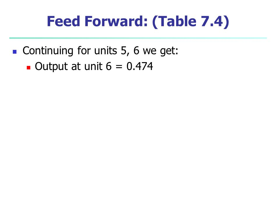 Feed Forward: (Table 7.4) Continuing for units 5, 6 we get:
