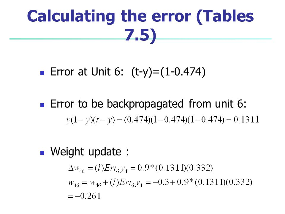 Calculating the error (Tables 7.5)