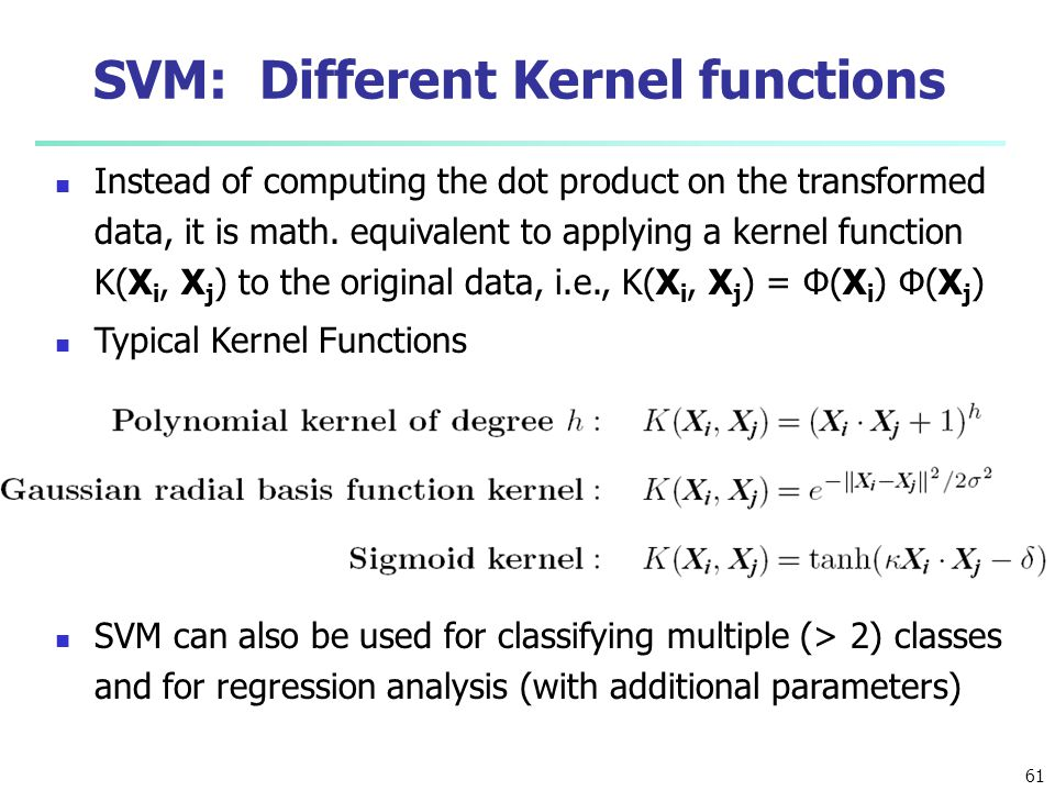 SVM: Different Kernel functions