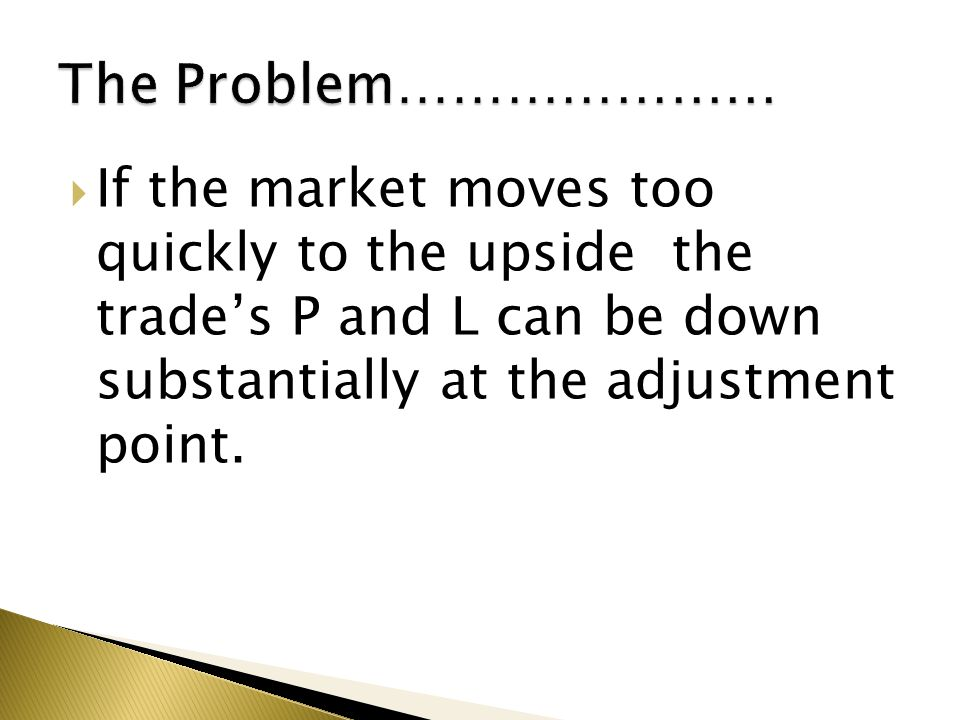 The Problem………………… If the market moves too quickly to the upside the trade's P and L can be down substantially at the adjustment point.