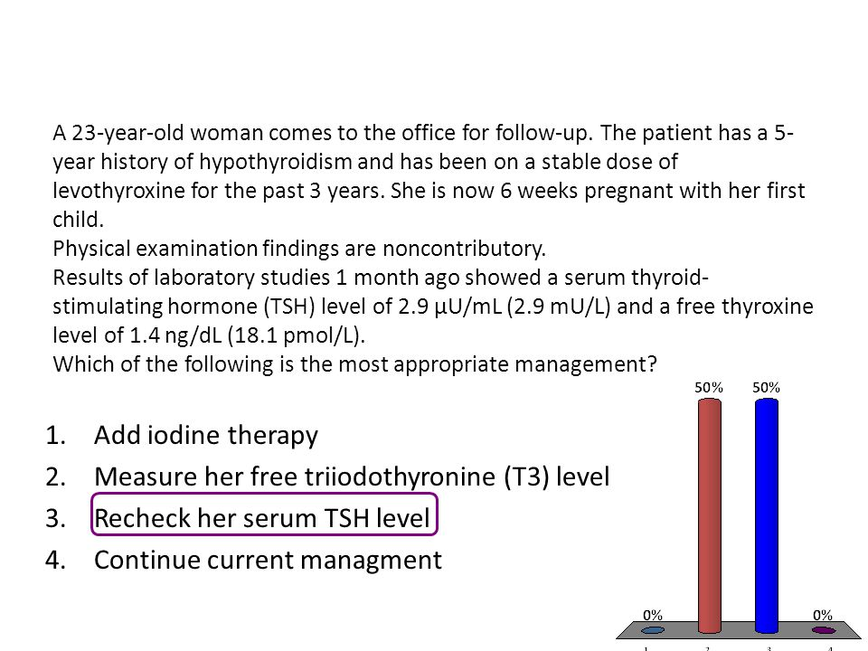 Measure her free triiodothyronine (T3) level