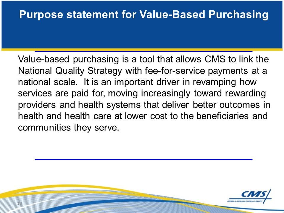 Purpose statement for Value-Based Purchasing