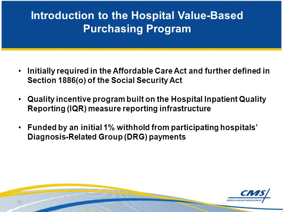 Introduction to the Hospital Value-Based Purchasing Program