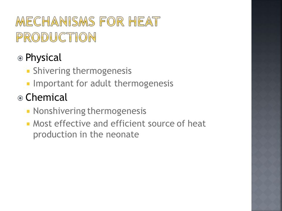 Mechanisms for Heat Production
