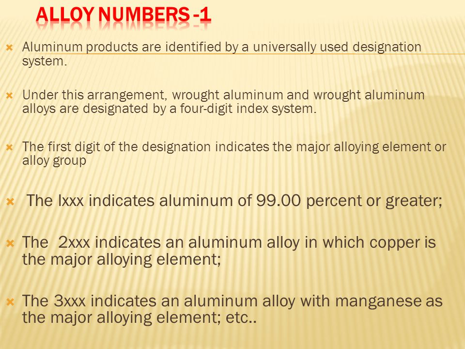 Alloy Numbers -1 Aluminum products are identified by a universally used designation system.