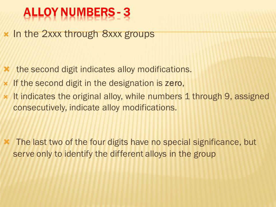 the second digit indicates alloy modifications.