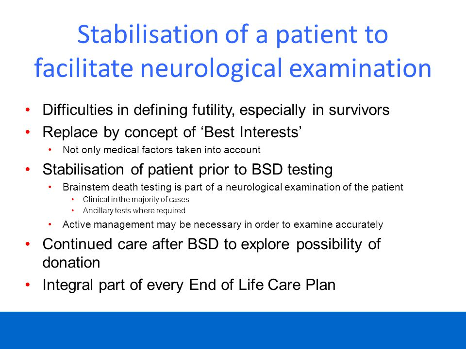Stabilisation of a patient to facilitate neurological examination