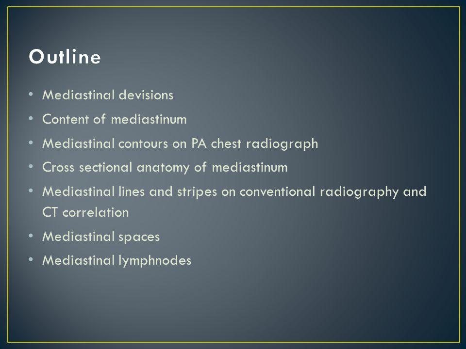 Outline Mediastinal devisions Content of mediastinum