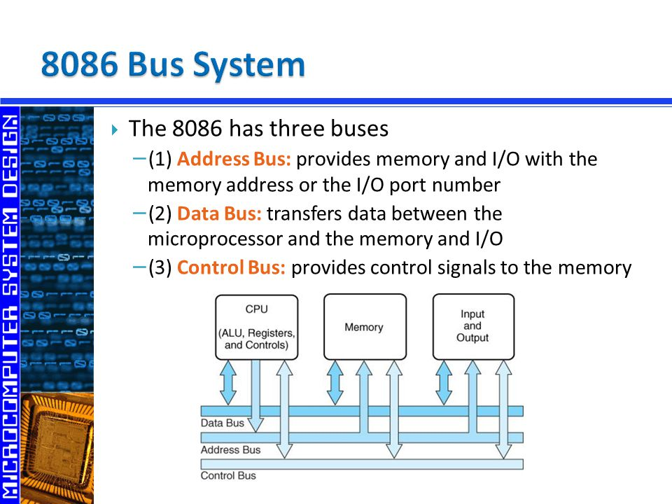 8086 Bus System The 8086 has three buses