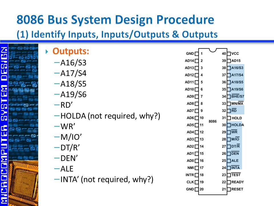 8086 Bus System Design Procedure (1) Identify Inputs, Inputs/Outputs & Outputs