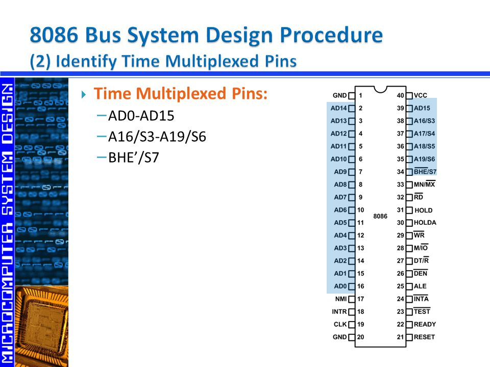 8086 Bus System Design Procedure (2) Identify Time Multiplexed Pins