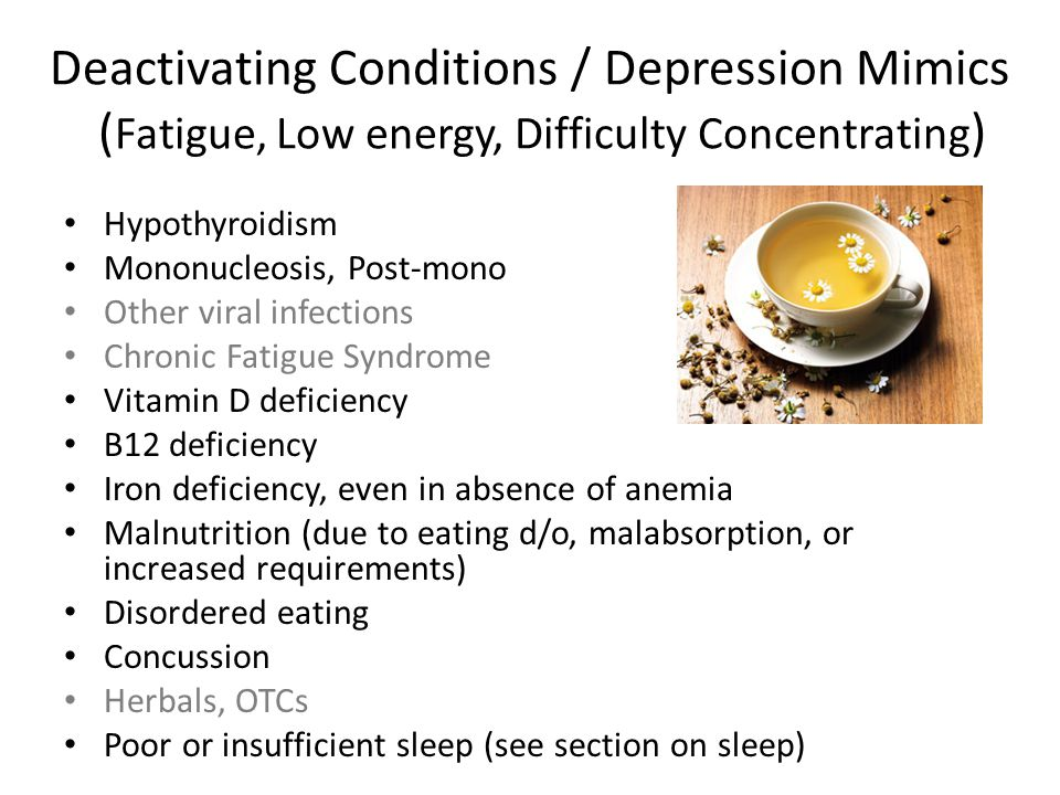 Deactivating Conditions / Depression Mimics (Fatigue, Low energy, Difficulty Concentrating)
