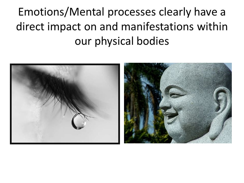 Emotions/Mental processes clearly have a direct impact on and manifestations within our physical bodies